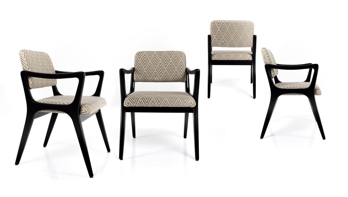 Nelly, Chair with armrests, inspired by art deco