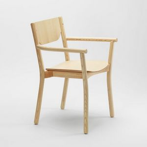 Nico armchair, Solid ash chair, with armrests