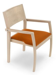 Omega ARMS, Wooden chair with armrests, padded seat