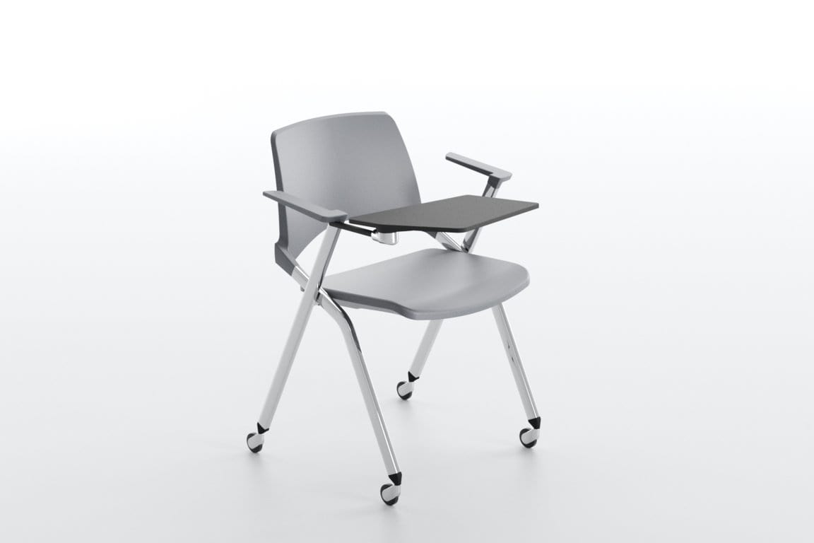 Oplà with armrests, Stackable chair with armrests
