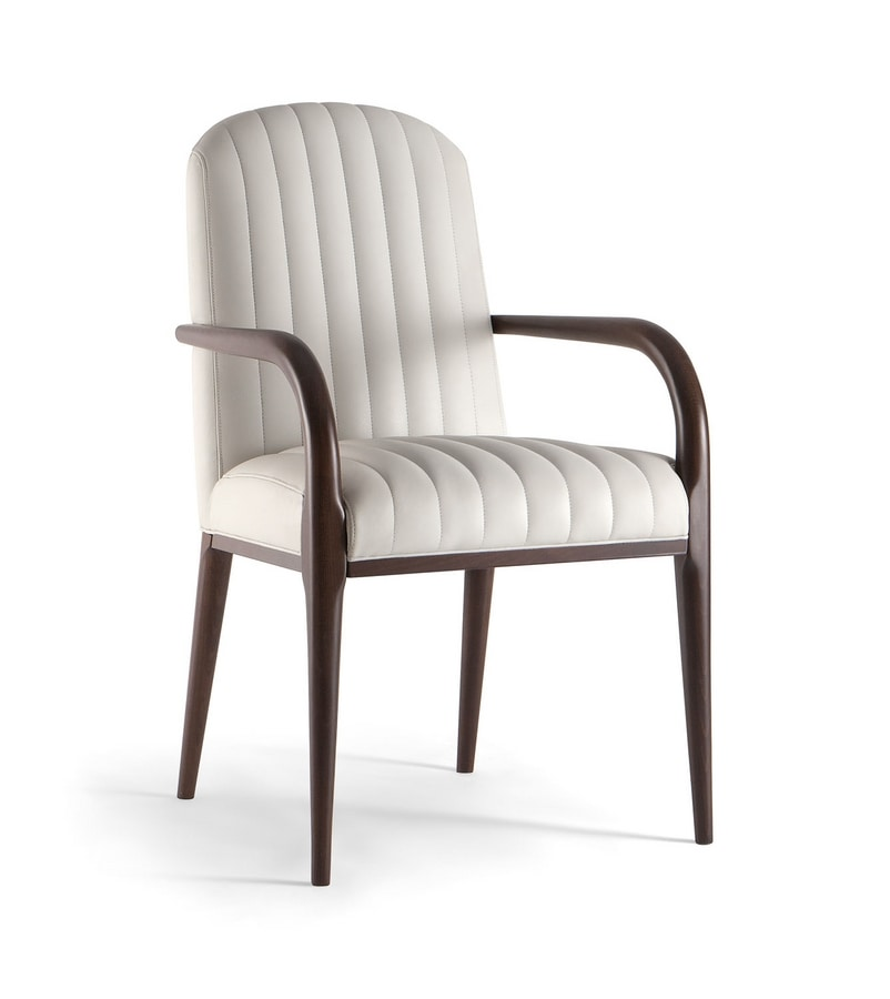 PARIGI SIDE CHAIR 038 SB, Upholstered chair, in solid wood, with armrests