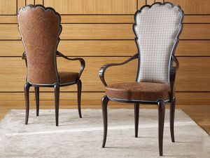 Pompeivm chair, Chair with armrests, covered in leather