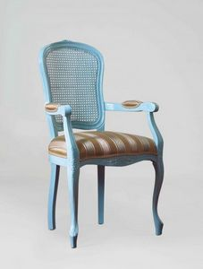 S19P, Chair with armrests, cane back