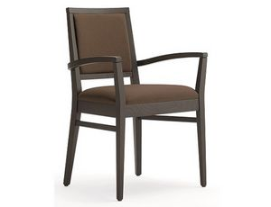 Saba-P1, Wooden chair with armrests, padded