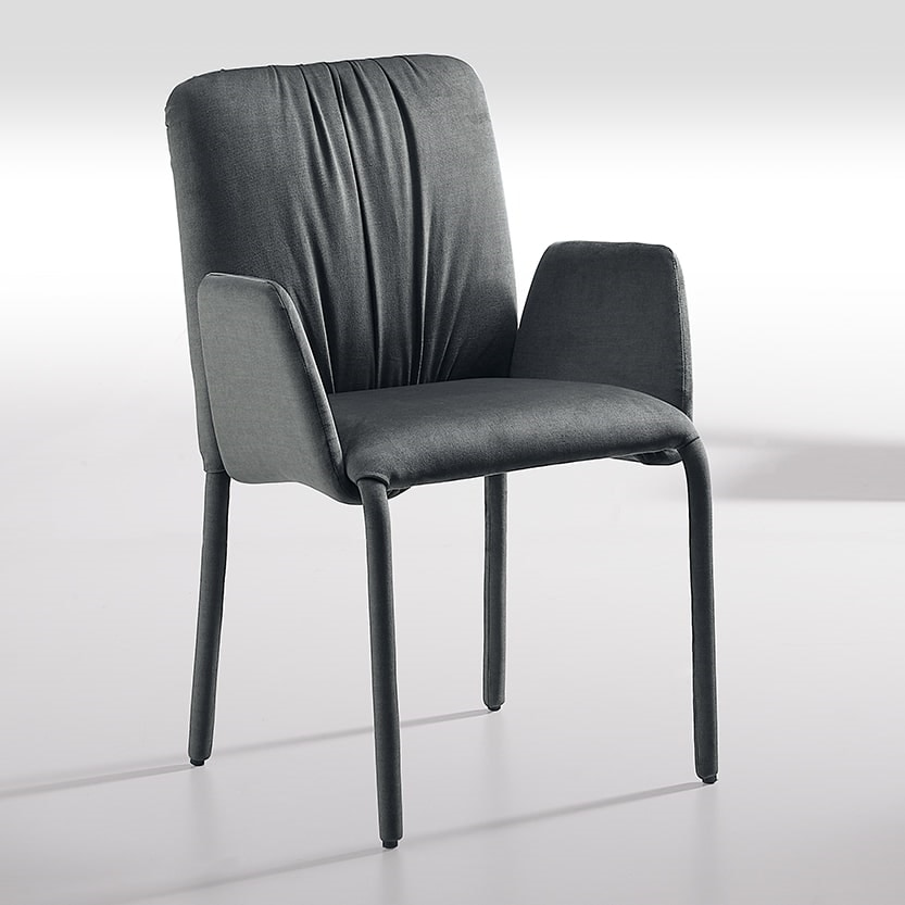 Sunrise-P, Chair with armrests, covered in fabric