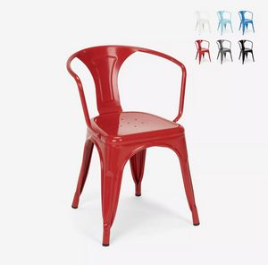 Tolix industrial chairs with steel armrests for kitchen and bar Steel Arm SM9006SA, Steel chair with armrests