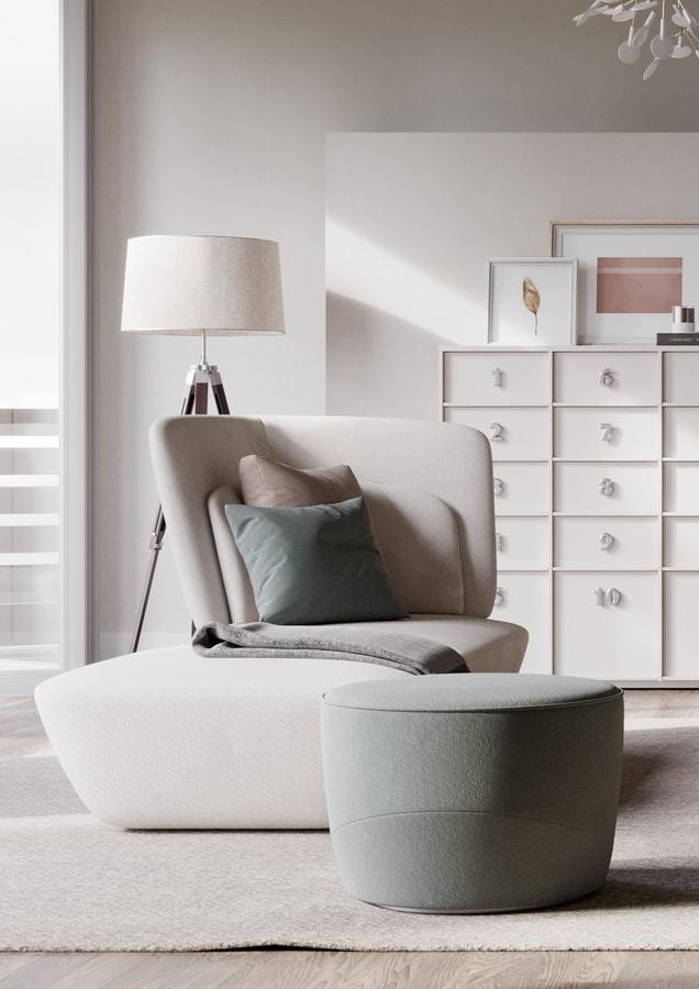 SOHO chaise longue, Chaise longue covered in soft velvet