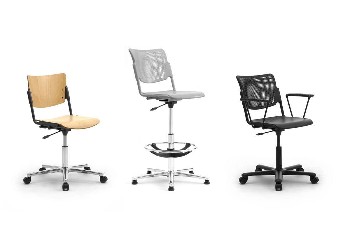 LaMia, Office chair on wheels with chromed base