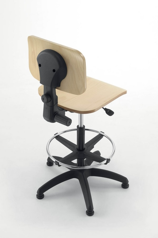 UF 349 - UF 349 Sgabello, Office chair base, seat and back in beech