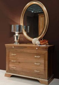 131, Chest of drawers in walnut, with gold details