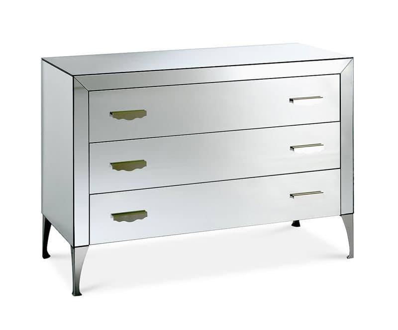 Adone chest of drawers, Dresser with wooden frame covered with mirrors