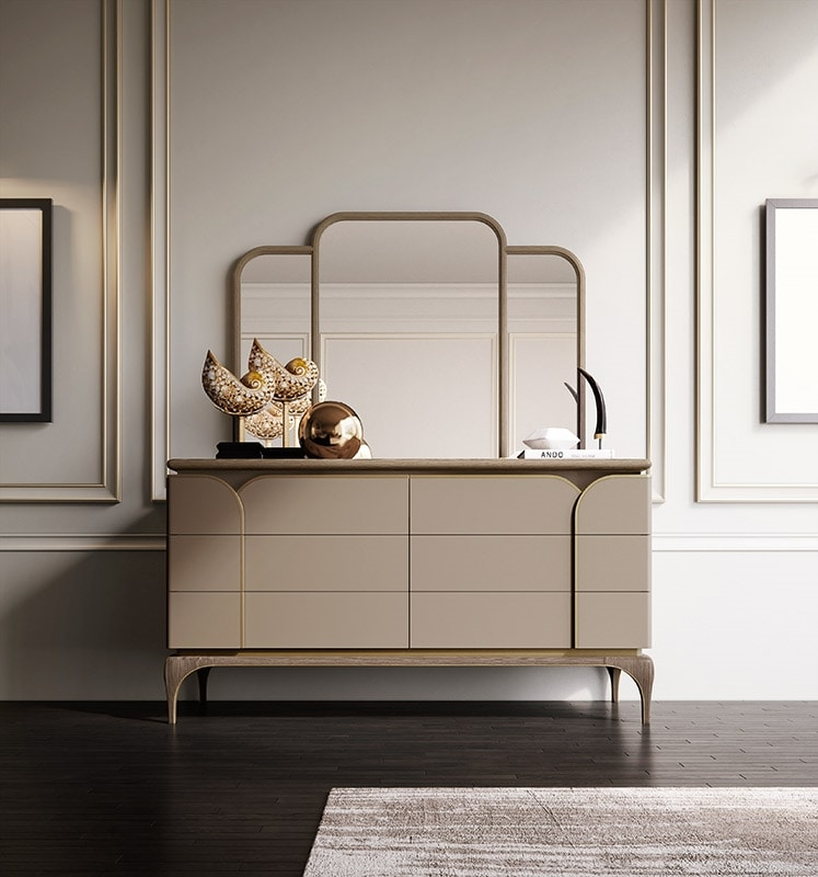 Alexander Art. A80, Ash wood chest of drawers with brass profiles