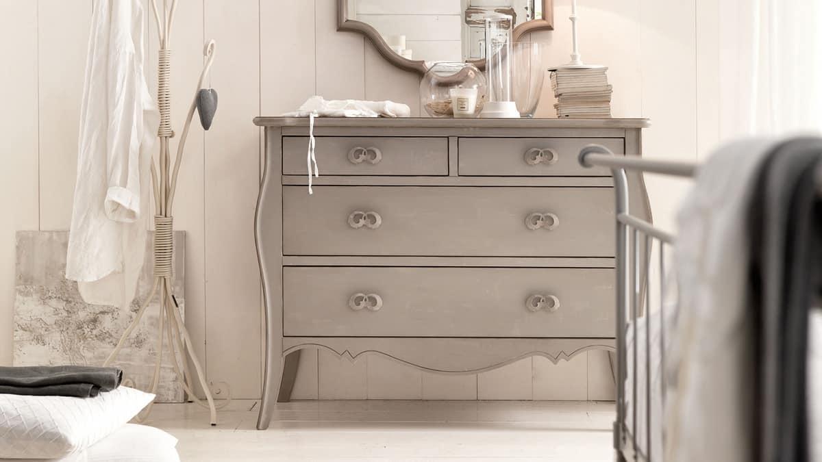 Amedeo dresser, Solid wood dresser, carved, hand-decorated