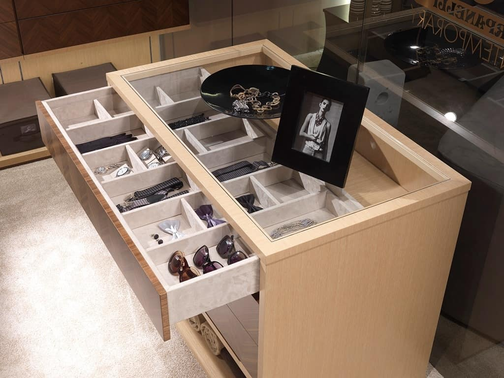 AR25C wardrobe, Cabinet island for walk-in wardrobe, with drawers