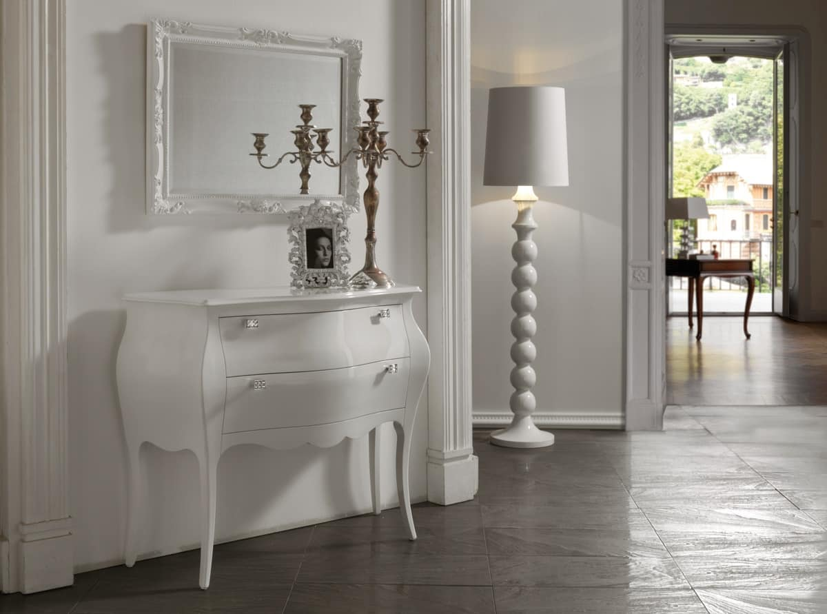 Art. 418 chest of drawers, Chest of drawers in classic style, white lacquered finish