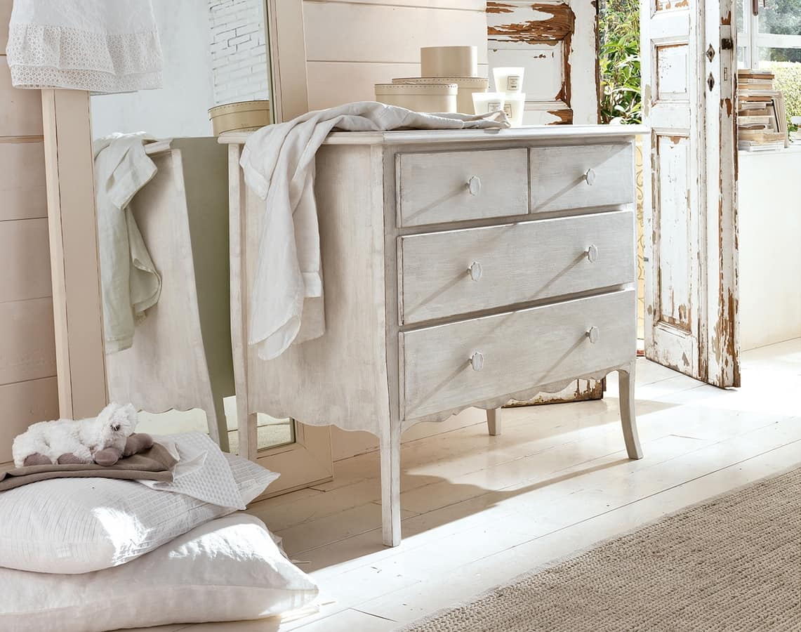 Beniamino dresser, Solid wood dresser, decorated with non-toxic paints