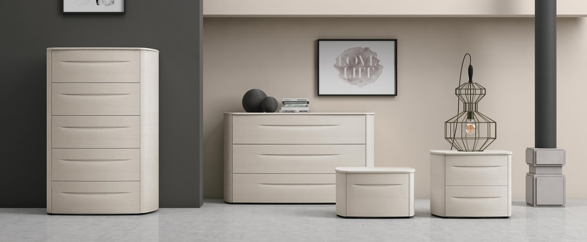 Bogart, Bedroom cabinets with a sinuous design