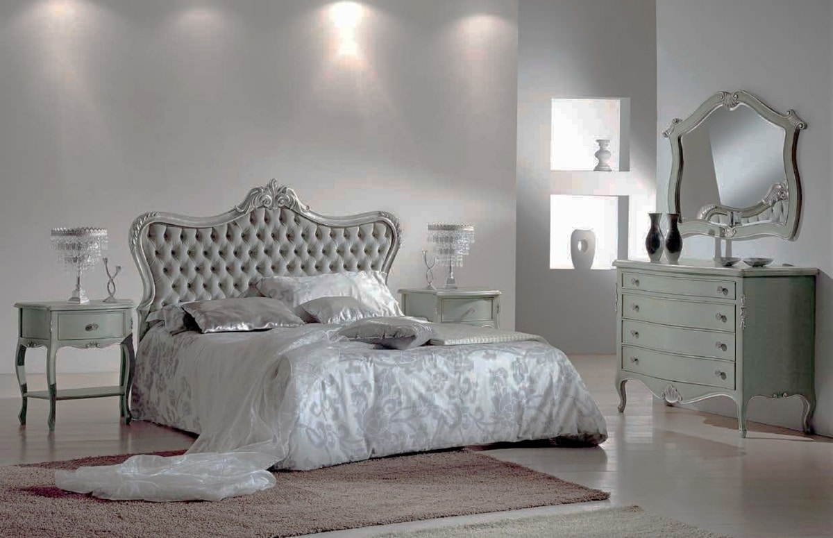 Bruna, Contemporary baroque nightstand and chest of drawers