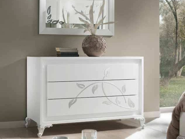 Camelia chest of drawers, Chest of drawers, in white lacquered wood, with silver decorations