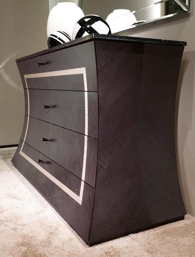 CO27B Cartesio chest of drawers, Chest of drawers with marble top, in wood