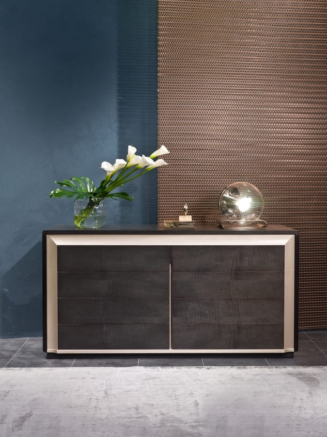 CO28 Galileo chest of drawers, Wooden dresser in Sycomoro and Pama