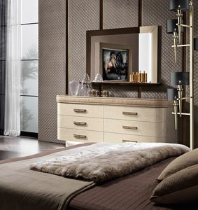 Diamond chest of drawers, Dresser with marble effect glass top