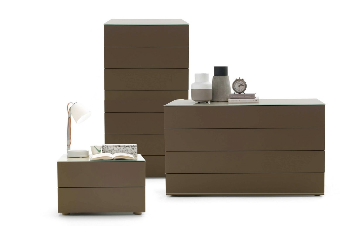 DIECI chest of drawers, Chest of drawers with top in glass