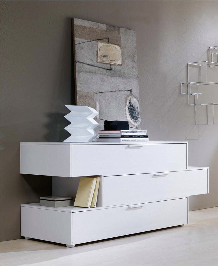 DOMINO-MOV, Chest of drawers with staggered drawers