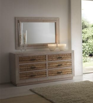 Dresser rumba pickled white, Ethnic style dresser with 6 drawers