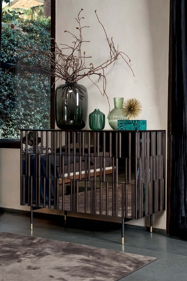 DROPS NIGHT, Night drawers with mirror effect doors and sides and wooden details