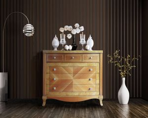 Elegant chest of drawers, Walnut chest of drawers with 6 drawers