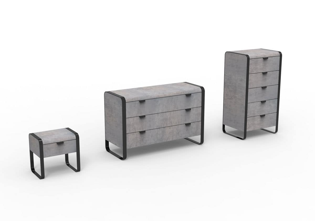 Elvis group, Modern furniture for bedroom, iron structure, wooden drawers