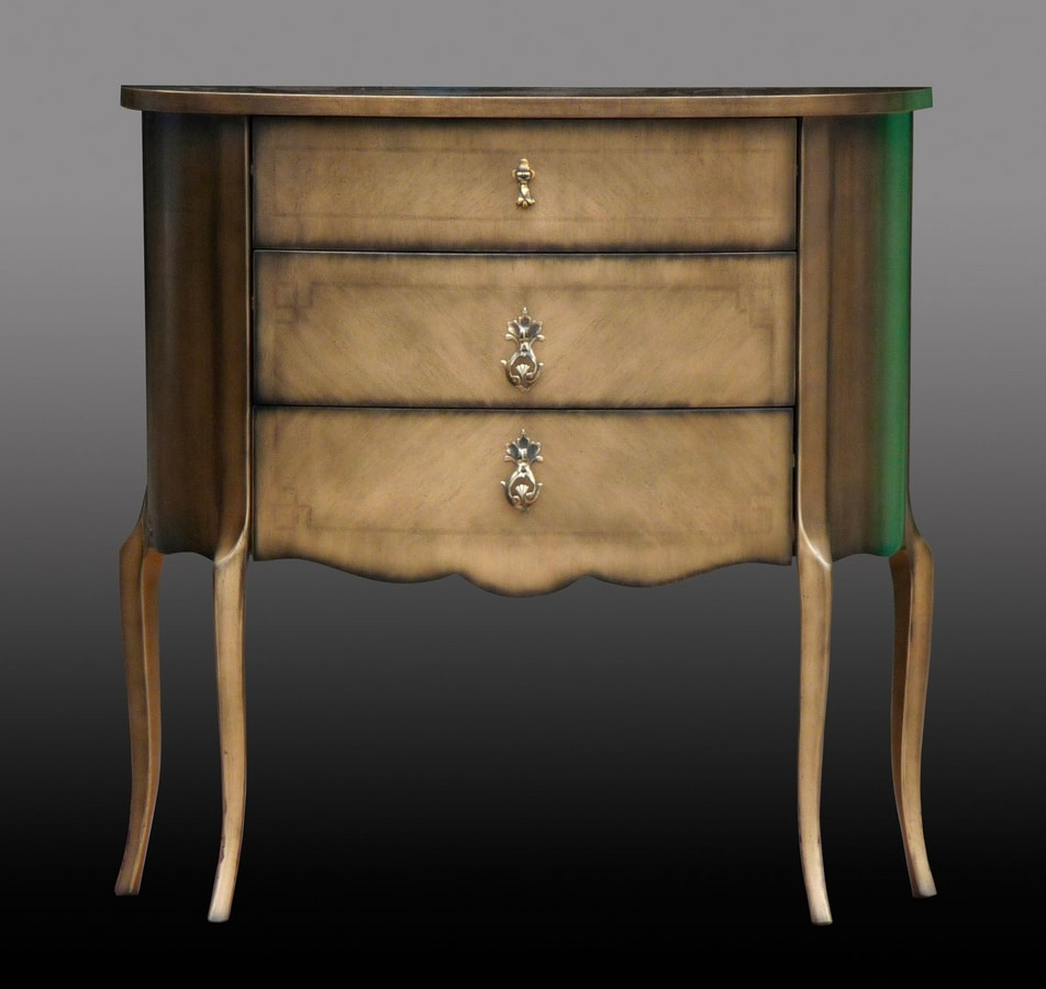 Emanuele FA.0060, Comoncino with three drawers, classic luxury style.