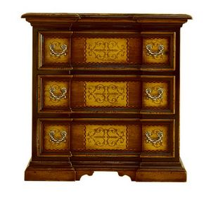 Fucecchio ME.0752.A, 17th-century-style small chest of drawers with three inlaid drawers