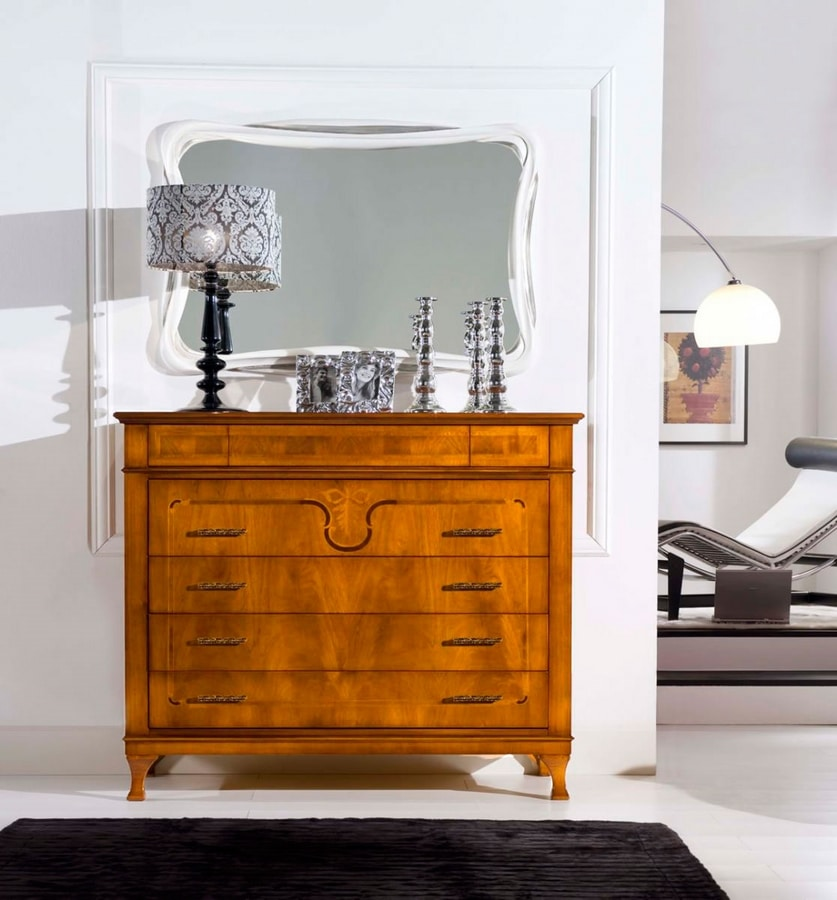 Gemma chest of drawers, Classic chest of drawers with inlay