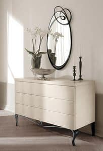 Ghirigori dresser, Dresser with iron base and wooden structure, for hotels