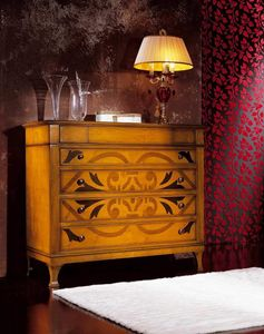 L'origine chest of drawers, Chest of drawers characterized by particular inlays