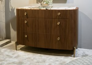 LAPETO chest of drawers GEA Collection, Chest of drawers in canaletto walnut, with a rounded shape