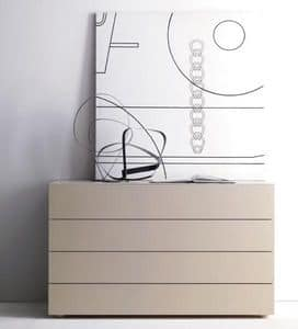 LARA chest of drawers, Chest of drawers for bedroom, with 4 drawers