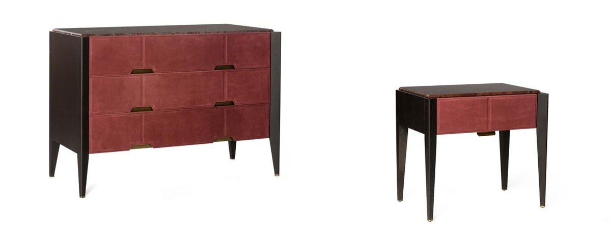 LEPANTO chest of drawers, Chest of drawers with nubuck leather fronts