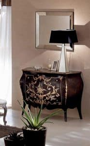 Orlando Decoro Moka com�, Solid wood dresser, hand-decorated