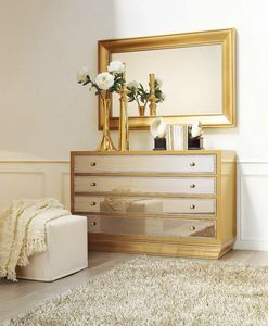 Reina Sofia CH.0554, Walnut chest of four drawers with mirrors
