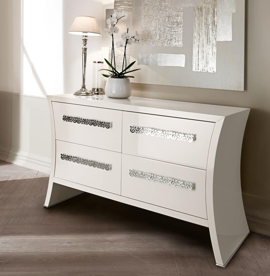 Richard dresser, Dresser in curved wood, hand-polished handles