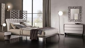 Taolino group, Dresser and matching bedside, in wood and metal
