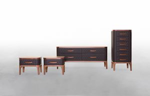 TIFFANY NIGHT, Bedroom cabinets in wood and leather