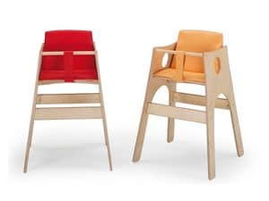 ALTINO, High chair for infant, beech with non-toxic paints, for kitchen  nurseries and restaurant