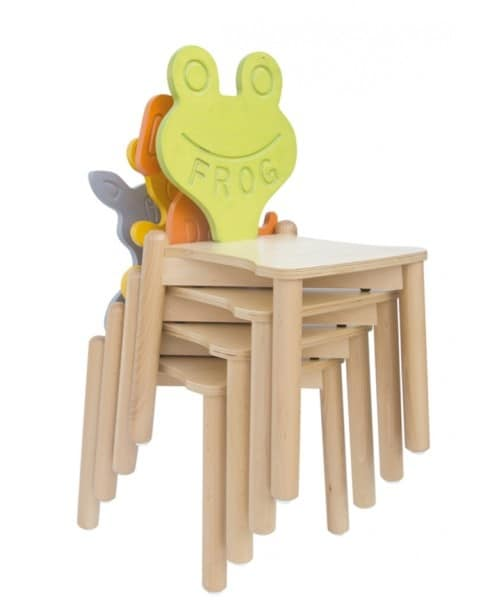 ANIMALANDIA - Cat, Stackable chair in beech, back with cat shape