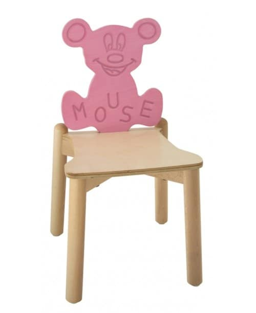 ANIMALANDIA - Mouse, Stackable chair in beech and birch, for play areas