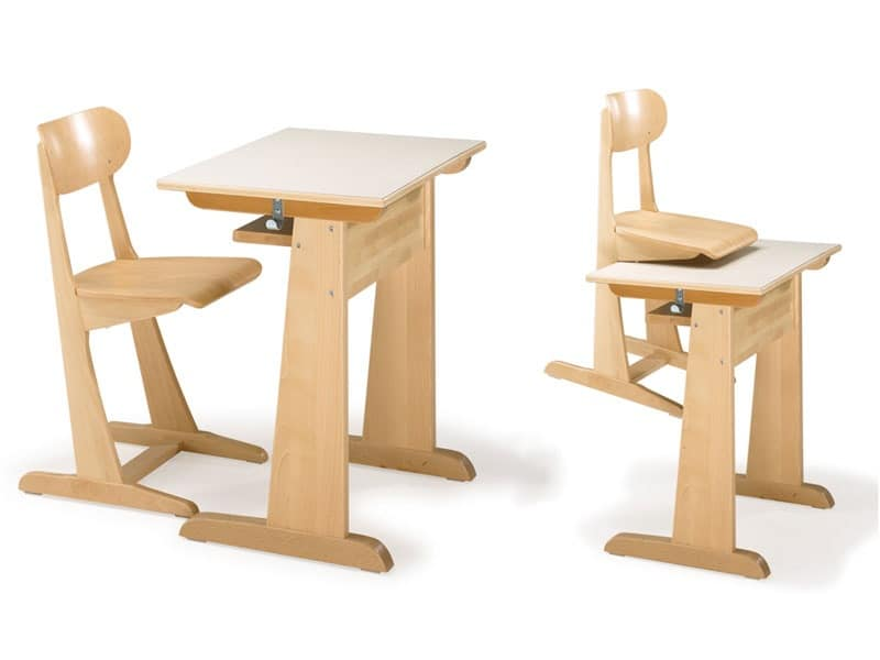 AULA, Chair and desk, made of beechwood, for kindergarten and school