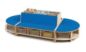 Isle of reading, Modular reading forniture for children, made in beechwood, furniture for nursery